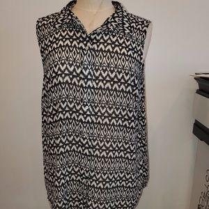 H&M | Black and White Sleeveless Sheer Chiffon
